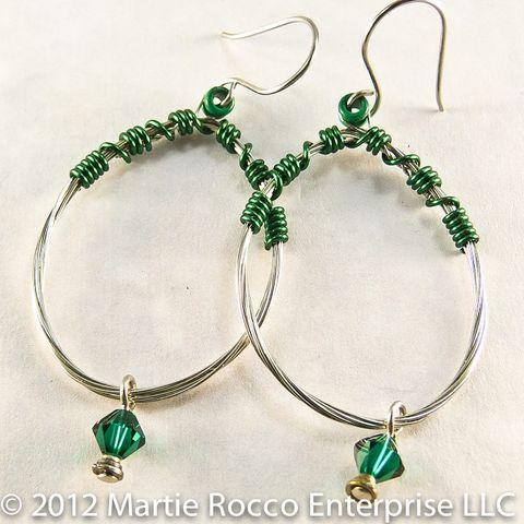 Guitar,String,oval,hoop,earrings,dark,green,wire,and,crystal