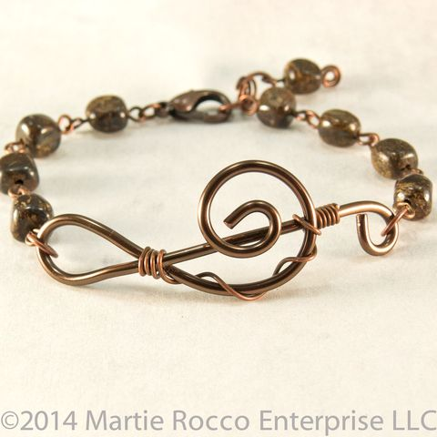 Bronzite,pebble,Music,bracelet,bronze,wire,treble,clef