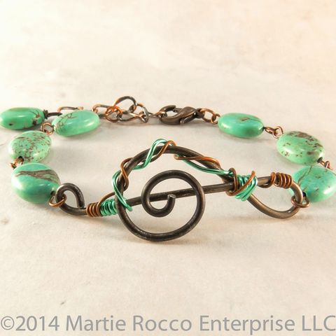 Black,anneal,Wire,music,Treble,clef,bracelet,turquoise,and,copper,Black anneal Wire music Treble clef bracelet turquoise and copper
