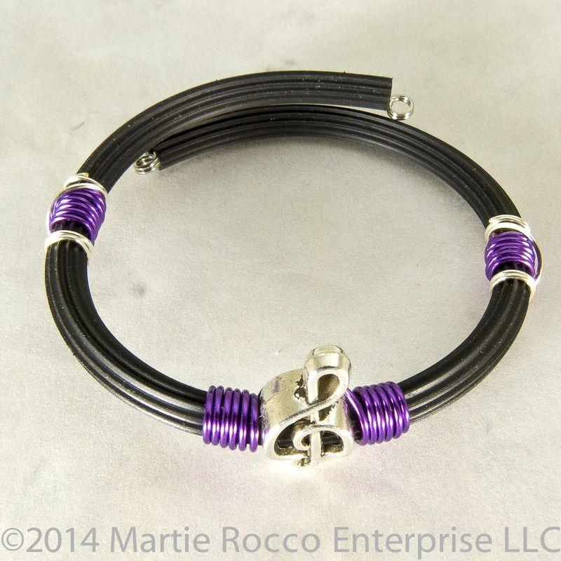 Pewter Treble clef bracelet purple wire wrap rubber tube memory wire ...