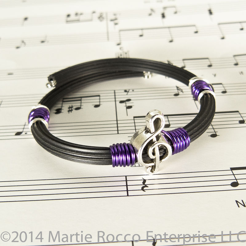 Pewter Treble clef bracelet purple wire wrap rubber tube memory wire ...