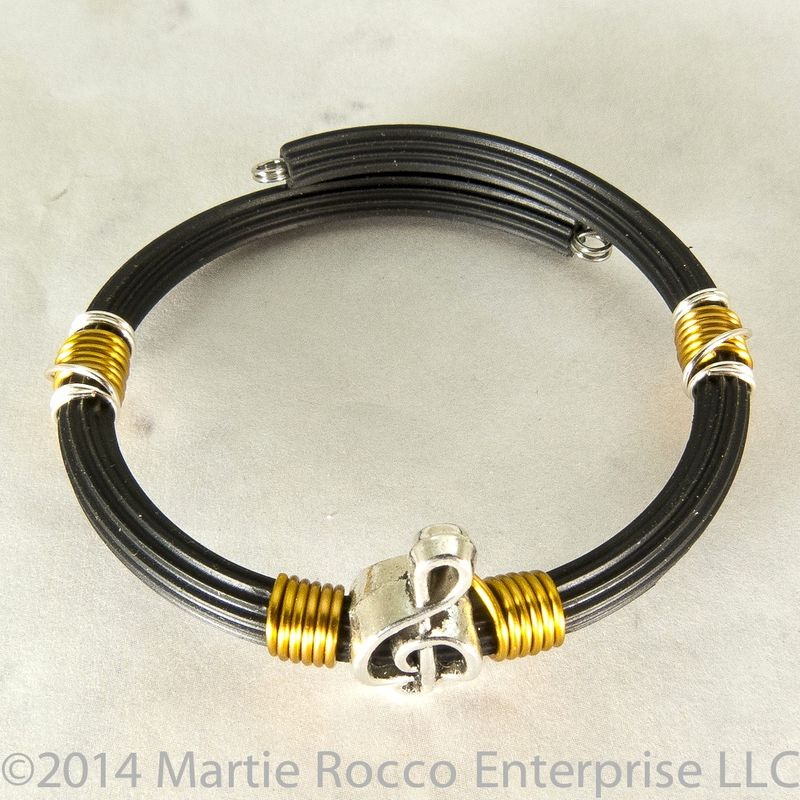 pewter treble clef bracelet bronze wire wrap rubber tube memory wire martie rocco jewelry. Black Bedroom Furniture Sets. Home Design Ideas