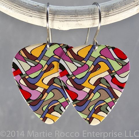 Stained,glass,pattern,multicolor,print,Guitar,Pick,earrings,Stained glass multicolor print Guitar Pick earrings