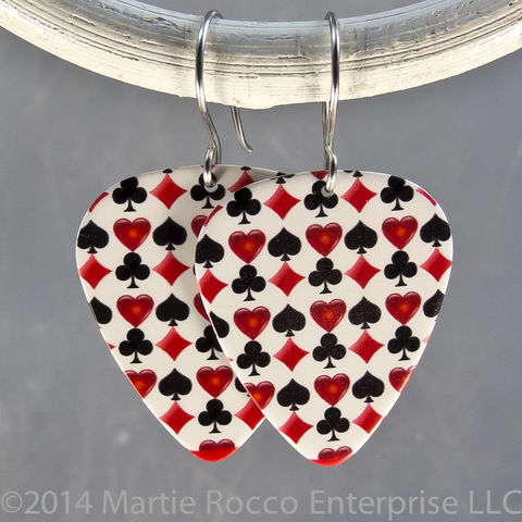 Hearts,diamonds,clubs,spades,red,and,black,print,Guitar,Pick,earrings,Hearts diamonds clubs spades red and black print Guitar Pick earrings