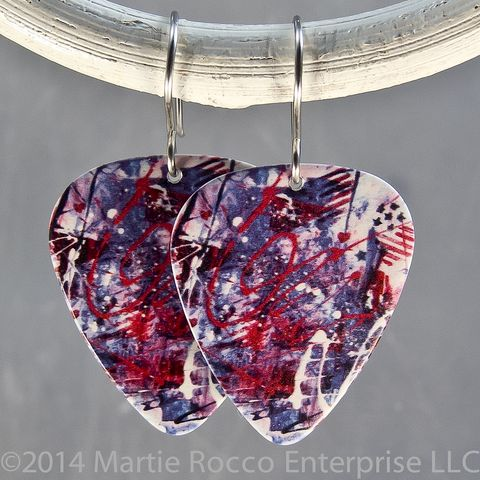 Red,white,and,blue,abstract,fireworks,print,Guitar,Pick,earrings,Red white and blue abstract fireworks print Guitar Pick earrings
