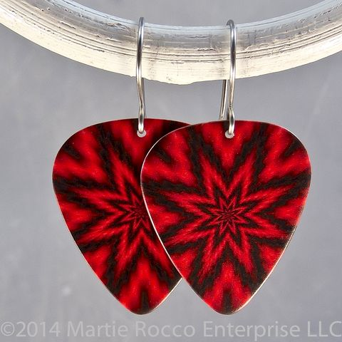 Red,and,black,fuzzy,star,burst,print,Guitar,Pick,Earrings,Red and black fuzzy star burst print Guitar Pick Earrings