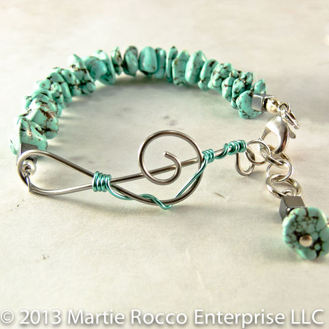 Turquoise,chip,bracelet,with,stainless,steel,wire,treble,clef,music,Turquoise chip bracelet with stainless steel wire treble clef music