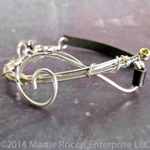 Guitar,string,bracelet,,Sterling,Silver,wire,music,Treble,clef,,leather,Guitar string bracelet, Sterling Silver wire music Treble clef, leather