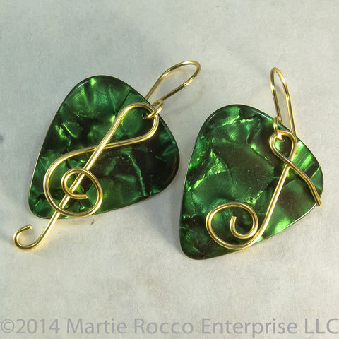 Green,Pearl,Guitar,Pick,Earrings,with,brass,wire,treble,clef,and,music,note, Guitar Pick earrings with wire Treble clef and music note. Brass, silver plate, Sterling Silver, copper