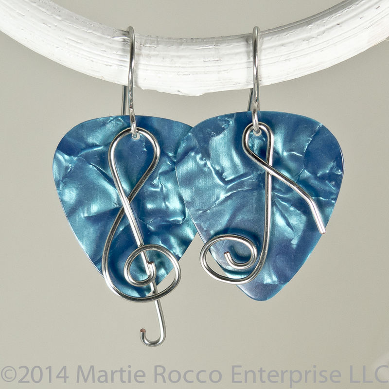 Turquoise Pearl Guitar Pick Earrings with wire treble clef and music ...