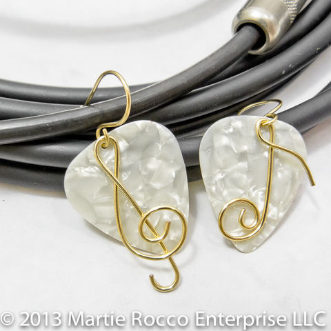White,pearl,Guitar,Pick,earrings,with,wire,treble,clef,and,music,note,Guitar Pick earrings with wire Treble clef and music note. Brass, silver plate, Sterling Silver, copper