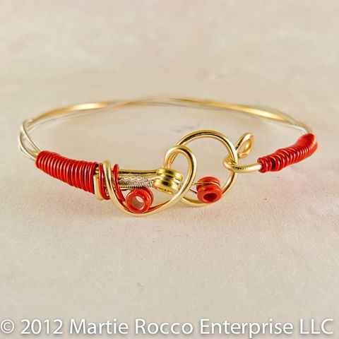 Guitar,string,bangle,bracelet,red,wire,wrap,hook,clasp,Guitar string bangle bracelet red wire wrap hook clasp