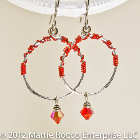 Guitar,string,earrings,medium,hoop,with,red,wire,and,crystal,drop,Guitar string earrings medium hoop with red wire and crystal drop