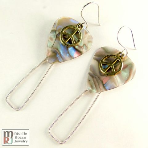 Guitar,String,earrings,with,abalone,guitar,pick,and,peace,charm,Guitar String earrings with abalone guitar pick and peace charm
