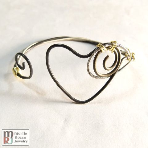 Wire,heart,guitar,string,bangle,bracelet,with,gold,wire,wrap,Wire heart guitar string bangle bracelet with gold wire wrap