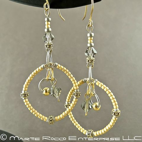Long,yellow,round,hoop,earrings,in,seed,beads,and,crystals.