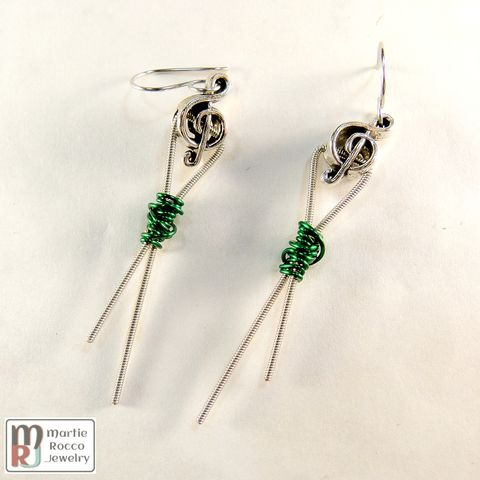 Guitar,String,earrings,,Dark,green,wire,wrapped,,ribbon,design,,pewter,treble,bead,Light green wire wrapped guitar string earrings, ribbon design, pewter treble bead