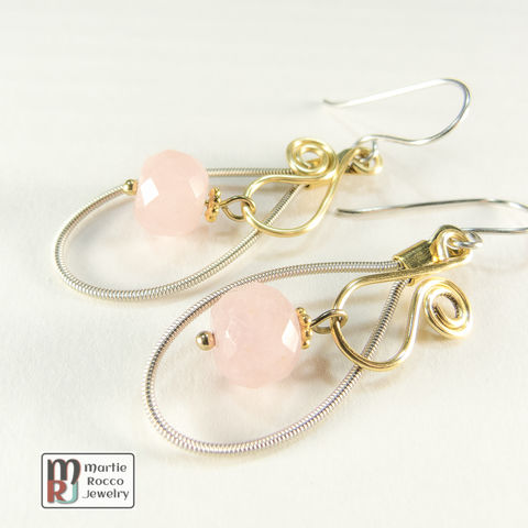 Guitar,String,Earrings,with,faceted,Rose,Quartz,bead,drop,on,gold,wire,vine,guitar strings, repurposed, reused, music