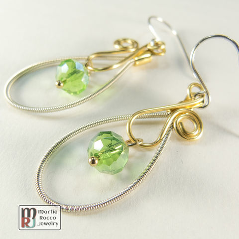 Guitar,String,Earrings,with,green,faceted,crystal,bead,drop,on,gold,wire,vine,guitar strings, repurposed, reused, music