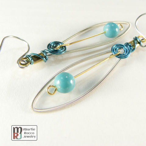 Guitar,String,Earrings,with,turquoise,bead,drop,and,wire,spiral,accent,guitar strings, repurposed, reused, music