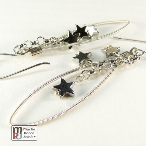 Guitar,String,dangle,Earrings,with,Silver,coated,hematite,star,beads,guitar strings, repurposed, reused, music