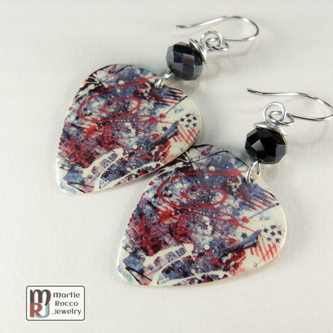 Red,white,and,blue,dangle,fireworks,printed,Guitar,Pick,earrings,Red white and blue abstract fireworks print Guitar Pick earrings