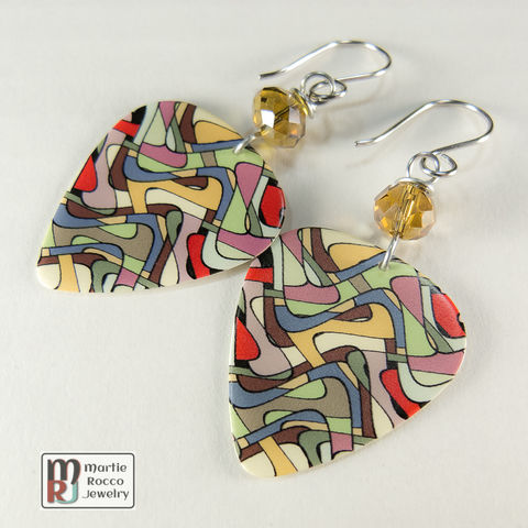 Stained,glass,pattern,print,Guitar,Pick,dangle,earrings,Stained glass multicolor print Guitar Pick earrings