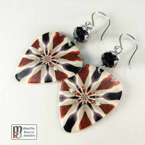 Red,white,and,blue,heart,print,Guitar,Pick,dangle,Earrings,Red white and blue heart print Guitar Pick Earrings