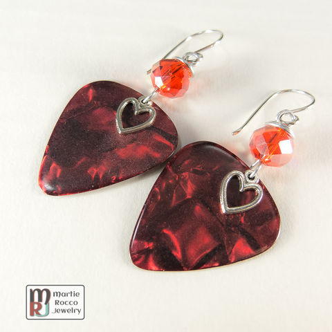 Red,Pearl,Guitar,Pick,dangle,earrings,glass,bead,Red Pearl Guitar Pick dangle earrings faceted red glass bead