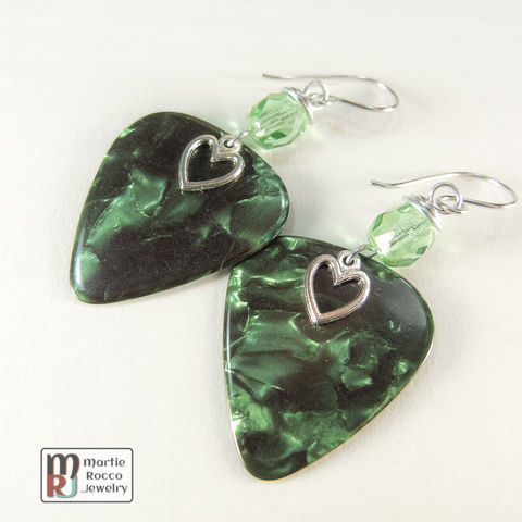 Green,Pearl,Guitar,Pick,dangle,earrings,glass,bead,Green Pearl Guitar Pick dangle earrings faceted glass bead