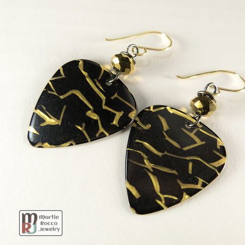 Black,and,gold,Guitar,Pick,dangle,earrings,with,mirror,bead,Black and gold Guitar Pick dangle earrings with gold mirror bead