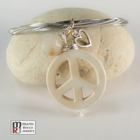 Guitar,String,Bangle,with,off-white,color,Peace,charm,guitar string jewelry, guitar string bangle, peace, heart, charm, off-white