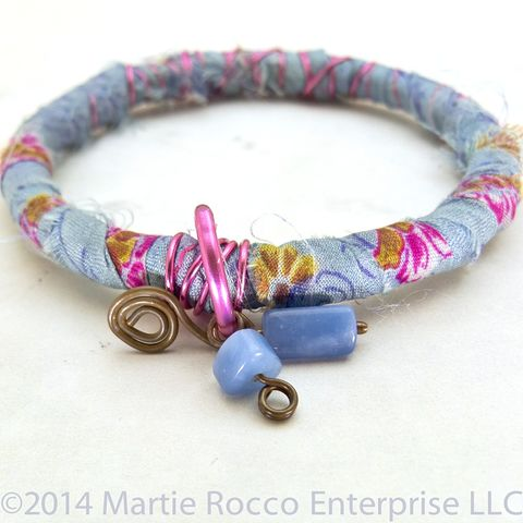 Blue,and,pink,floral,silk,sari,wrapped,bangle,bracelet