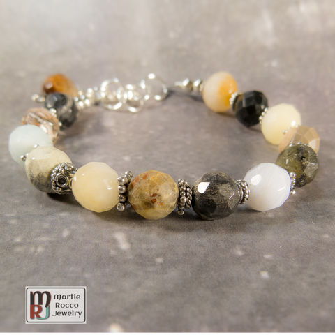 Multi,stone,bracelet,with,sterling,silver