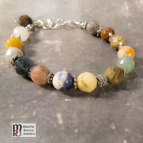 Faceted,beaded,multi,stone,bracelet,with,sterling,silver