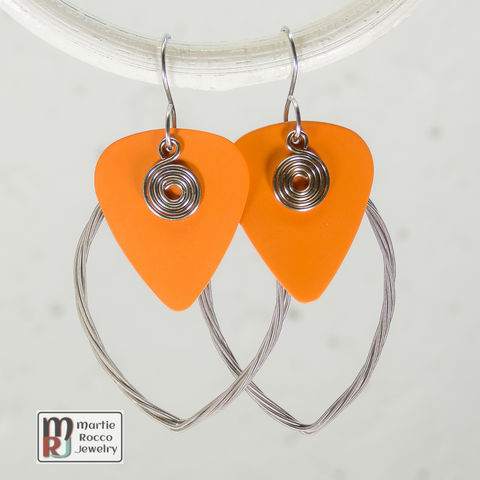 Guitar,String,earring,large,marque,shape,with,orange,guitar,pick,guitar string jewelry, guitar string earrings, guitar pick earrings, guitar pick jewelry