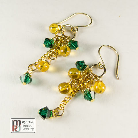 Green,crystal,and,golden,glass,dangle,earrings,Green crystal and golden dangle earrings