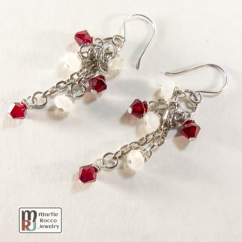 Red,crystal,and,white,opal,glass,dangle,earrings,Red crystal and white opal glass dangle earrings