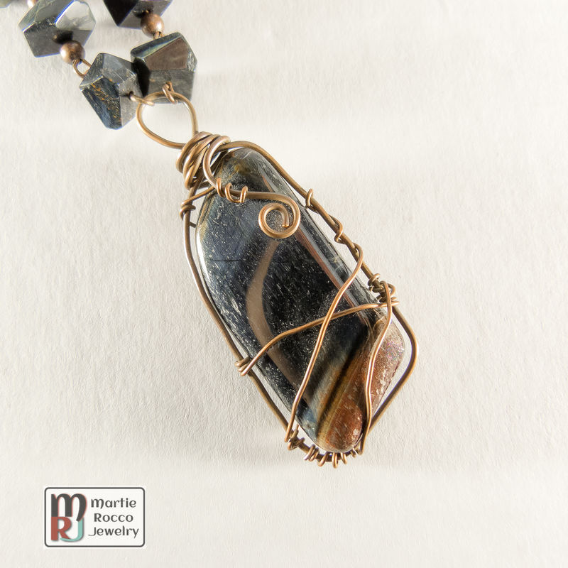Red and Blue Tiger Eye wire wrapped necklace - product images of ...