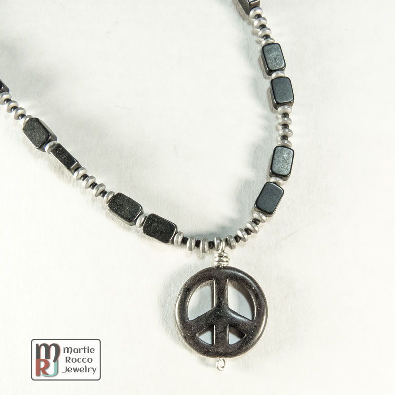 Black peace sign pendant necklace with jet beads martie rocco jewelry aloadofball Images