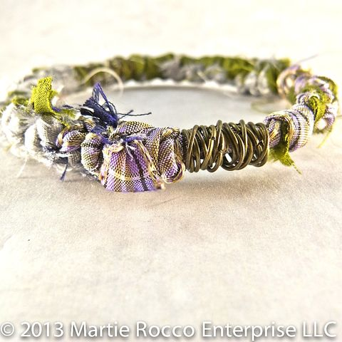 Olive,green,and,purple,silk,knotted,boho,inspired,bangle,bracelet, silk sari, bangle, bracelet, olive green, off white