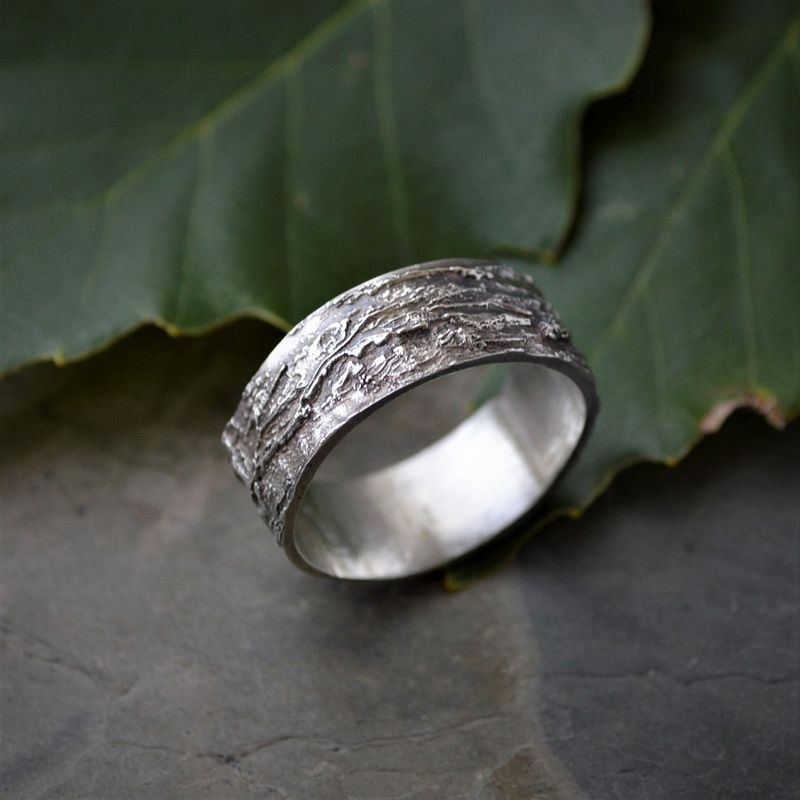 tree bark ring chinkapin oak in sterling silver unique wedding band 80 - Unique Wedding Ring