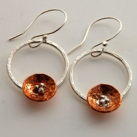 Nesting,-,Copper,and,Sterling,Silver,Hoop,Earrings,Sterling silver hoops, hoop earrings, copper nests, sterling and copper earrings, dangle earrings, sterling silver dangle earrings, mixed metal earrings, gayle dowell