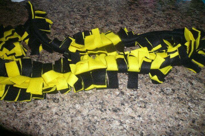 Black and Yellow Fringe Fleece Scarf - product images