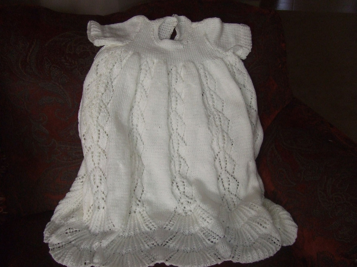 Christening Gown Knitting Patterns : Pattern for Traditional Hand Knit Christening Gown - Pretty Lady Knits