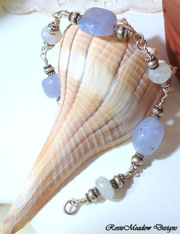 Blue,Chalcedony,and,Rainbow,Moonstones,Blue Chalcedony, Rainbow Moonstone, Fine Silver Karen Hill Tribe Beads
