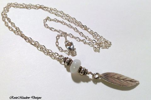Fine,Silver,Leaf,Charm,Necklace,Fine Silver Necklace, Thai Karen Hill Tribe Charm, Moonstone, f\Figure Eight Chain