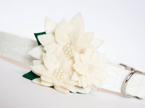 Flower,Dog,Collar,-,Ivory,Lace,Wedding,flower dog collar, dog collar flower, flower for dog collar, felt flower, wedding dog collar, fancy dog collar, unique, dog collar, flower, ivory, lace, wedding