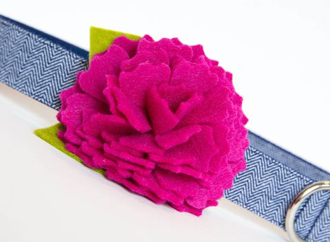 Flower,Dog,Collar,-,Pink,Peony,Navy,Herringbone,flower dog collar, dog collar flower, flower for dog collar, felt flower, wedding dog collar, fancy dog collar, unique, dog collar, flower, herringbone dog collar