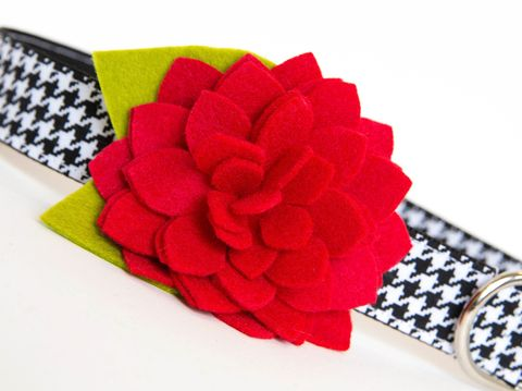 Flower,Dog,Collar,-,Alabama,Red,Dahlia,Houndstooth,flower dog collar, dog collar flower, flower for dog collar, felt flower, wedding dog collar, fancy dog collar, unique, dog collar, flower, university of alabama, alabama, houndstooth